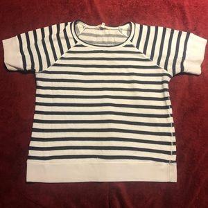 Athleta cotton top white blue stripe large
